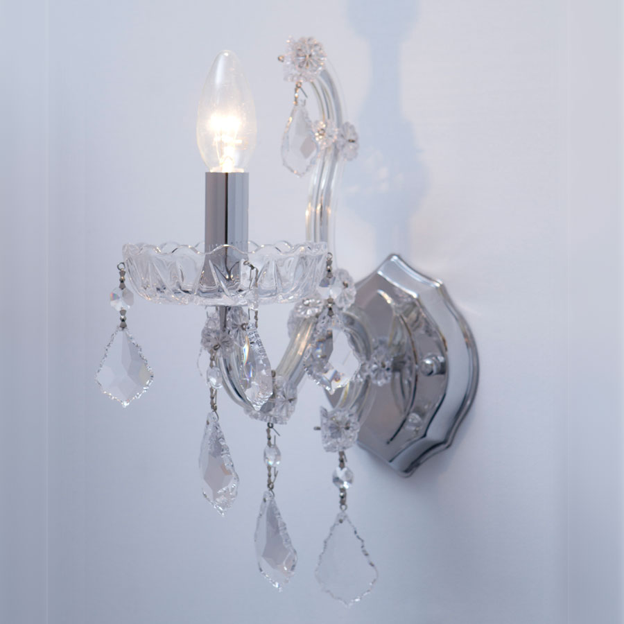 Next Crystal Wall Lights : Pandora 1 Light Wall Mirabella